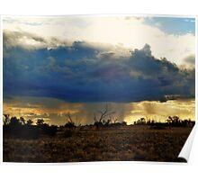 Sun behind rain cloud Poster