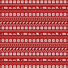 Red and White Christmas Sweater Pattern with Reindeer and Cars by Jenn Inashvili