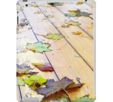 Close up view on a wet green and yellow leaves of maple iPad Case/Skin