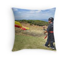 Paraglider at Torquay Throw Pillow