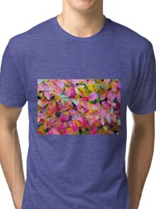 Selective focus on front leaves Tri-blend T-Shirt