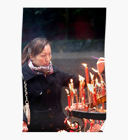 Chinese woman at temple Poster