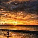 Boy Fishing at Sunset by Jill Fisher