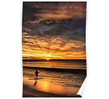 Boy Fishing at Sunset Poster