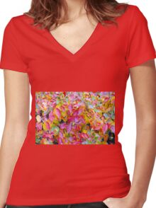 Background of vivid red and yellow autumn leaves Women's Fitted V-Neck T-Shirt