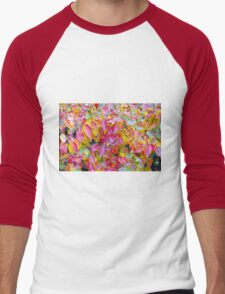 Background of vivid red and yellow autumn leaves Men's Baseball ¾ T-Shirt