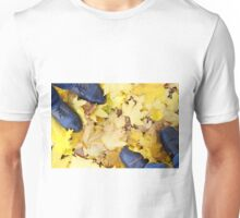 Top view of the male and female feet, standing on the lawn Unisex T-Shirt