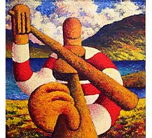 Fiddle player  in landscape( impasto) acrylic 12x12 in. Photographic Print