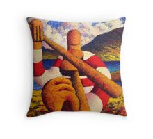 Fiddle player  in landscape( impasto) acrylic 12x12 in. Throw Pillow
