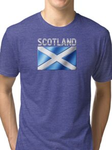 Scotland - Scottish Flag & Text - Metallic Tri-blend T-Shirt