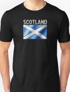 Scotland - Scottish Flag & Text - Metallic Unisex T-Shirt