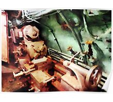 Metal Lathe in Submarine Poster