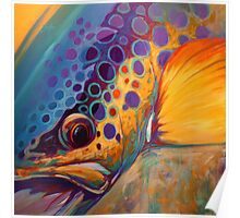 """River Orchid"" Large Contemporary Trout Painting  Poster"