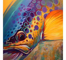 """River Orchid"" Large Contemporary Trout Painting  Photographic Print"