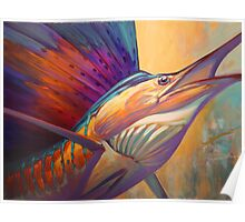 """ Rising Son "" Original Sailfish art 30"" x 40 "" acrylic on gallery wrap canvas by Mike Savlen Poster"