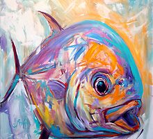 Contemporary Expressionist Fine Art Permit Fish Painting by Mike Savlen