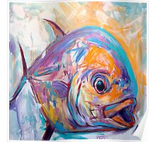 Contemporary Expressionist Fine Art Permit Fish Painting Poster
