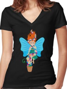 Floating in Flowers Women's Fitted V-Neck T-Shirt