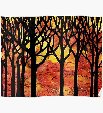Abstract Fall Forest Poster