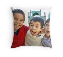 3 Boys Crazy Faces RO Throw Pillow