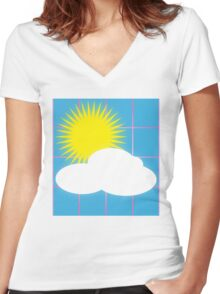 Retro-80s Kindergarten Sunshine Women's Fitted V-Neck T-Shirt