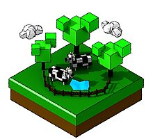Isometric island frame - Cow Photographic Print