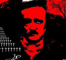 Edgar Allan Poe Red Sky by John Garcia