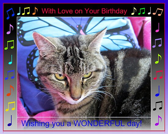 Funky Birthday Card with Music Notes by BlueMoonRose