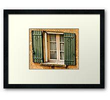 Green shutters on window in southern France Framed Print