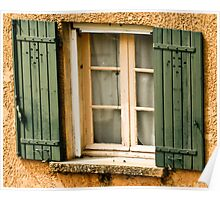 Green shutters on window in southern France Poster