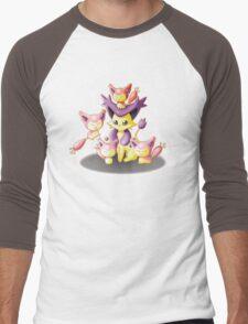 Pokemon: Mama Delcatty and her Baby Skitty Men's Baseball ¾ T-Shirt