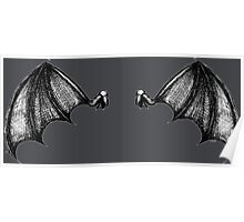 Bat Winged Back Line shaded Poster