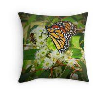 Eucalyptus Flower, Butterfly, Bee Throw Pillow