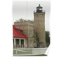 Lighthouse at Mackinaw City Poster