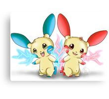 Pokemon: Plusle and Minun Attack Together! Canvas Print
