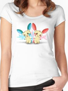 Pokemon: Plusle and Minun Attack Together! Women's Fitted Scoop T-Shirt