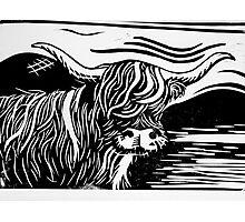 Highland Cow Lino Print Black and White Photographic Print
