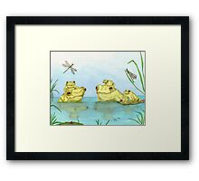Frogs Dragonflies Pond Cathy Peek Wildlife Animal Framed Print