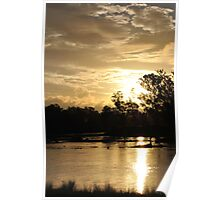 Golden Sunset Sky Murray River Poster