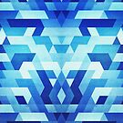Abstract geometric triangle pattern (futuristic future symmetry) in ice blue by badbugs