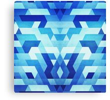 Abstract geometric triangle pattern (futuristic future symmetry) in ice blue Canvas Print