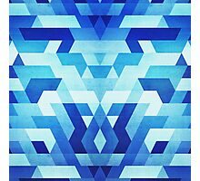 Abstract geometric triangle pattern (futuristic future symmetry) in ice blue Photographic Print