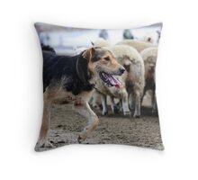 Dog at Work Throw Pillow