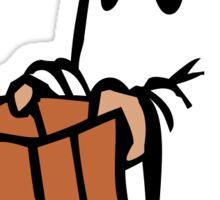 Cute ghost holding bag Sticker