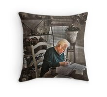 the old bookeeper Throw Pillow