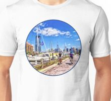 Bicycling Along Liberty Landing Marina Unisex T-Shirt