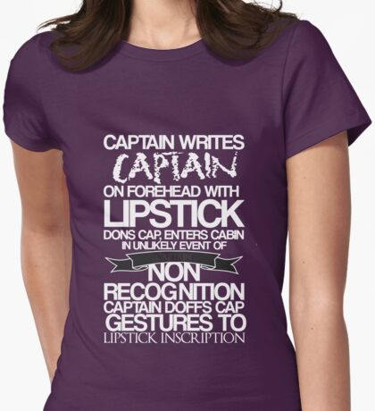 Captain Lipstick (White) Womens Fitted T-Shirt