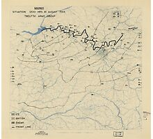 August 30 1944 World War II Twelfth Army Group Situation Map Photographic Print