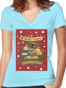 Tom Nook's Christmas Sale Women's Fitted V-Neck T-Shirt