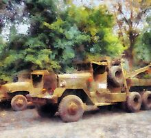Two Army Trucks by Susan Savad